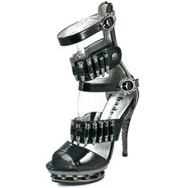 Hades Shoes Women's Bullet Black Stiletto Steampunk Heels