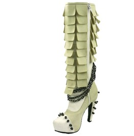 Hades Shoes Women's Caymene White Steampunk Boots