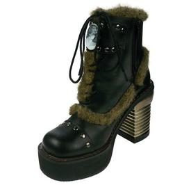 Hades Shoes Women's Daire Black Faux Fur Cameo Boots