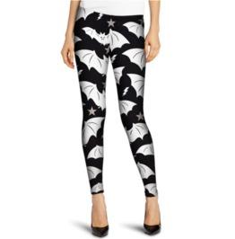 White Bat Print Tight Leggings