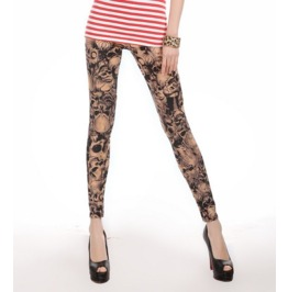 Crowded Skull Print Tight Leggings
