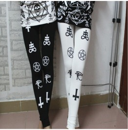 Cross Star Print Tight Leggings