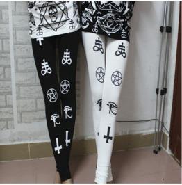 Cross Star Print Tight Leggings