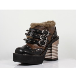 Hades Shoes Women's Davorin Faux Fur Steampunk Platforms