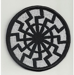 Black Sun Embroidered Patch, 3,2 X 3,2 Inch