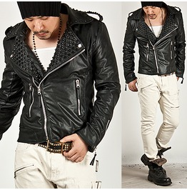 Tough Chic Masculine Black Stud Rider Leather Jacket 31