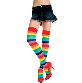 Close Special!!! Multi Colored Rainbow Striped Thigh Hi Stockings