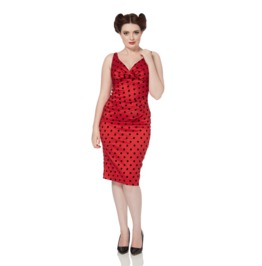 Voodoo Vixen Women's Red Spotted Polka Dot Pencil Dress
