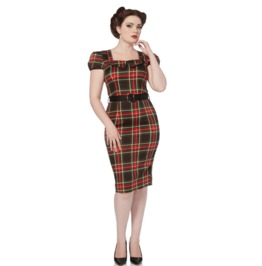 Voodoo Vixen Women's Scots Lady Tartan Pencil Dress