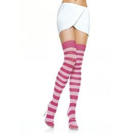 Close Special!!! Fuchsia White Striped Thigh Hi Stockings