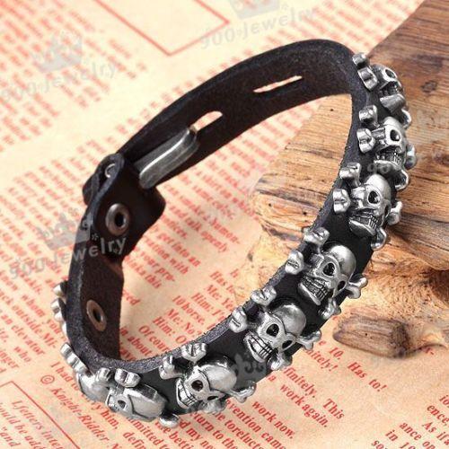 men_skull_stud_spot_belt_leather_bracelet_wristband_cuff_fastener_black_bracelets_3.JPG