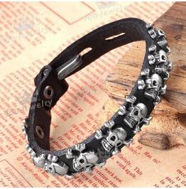 Men Skull Stud Spot Belt Leather Bracelet Wristband Cuff Fastener Black