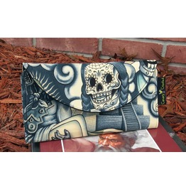 Sugar Skull Wallet Blue Tattoo