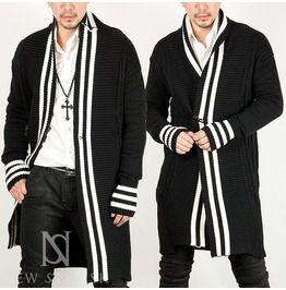 Stripe Conrast Long Knit Cardigan 40