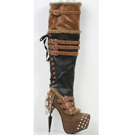 Hades Shoes Women's Brown Ventail Steampunk Boots