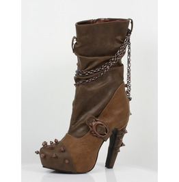 Hades Shoes Faline Beige Steampunk Booties