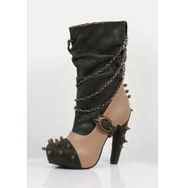 Hades Shoes Faline Tan Steampunk Booties