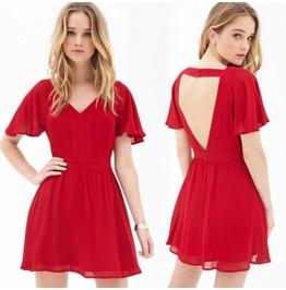 Sexy Backless V Neck Short Red Dress