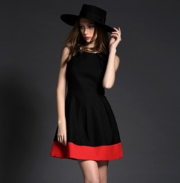Black Red Sleeveless Short Dress