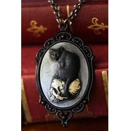 Cat Skull Cameo Necklace