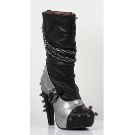 Hades Shoes Faline Silver Steampunk Booties