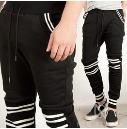 White Stripe Contrast Banded Hem Sweatpants 82