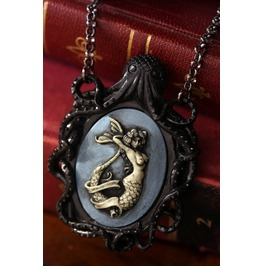 Black Octopus Blue Mermaid Cameo Necklace