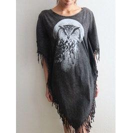 Owl wave punk hippie batwing tussle fringes stone wash poncho dress dresses