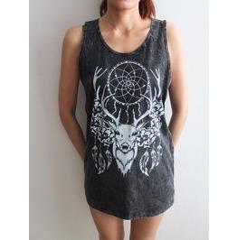 Deer Animal Pop Rock Fashion Stone Wash T Shirt Tank Top