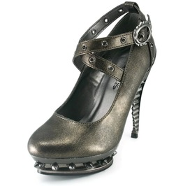 Hades Shoes Women's Triton Pewter Steampunk Heels