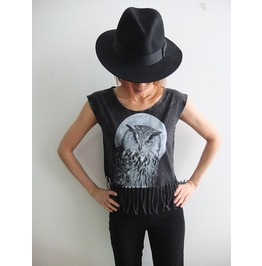 Owl Animal Pop Rock Fashion Stone Wash T Shirt Poncho