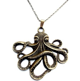 Eyecatching Antique Bronze Colour Metal Octopus Chain