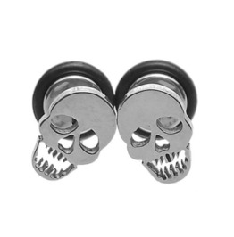 Awesome Skullhead Stainless Steel Screw Back Stud Earring 316 L