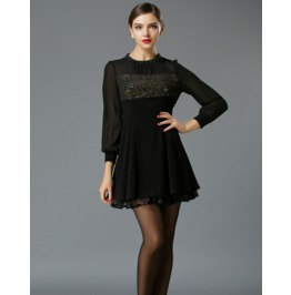 Elegant Loose Fit Front Decor Black Short Dress