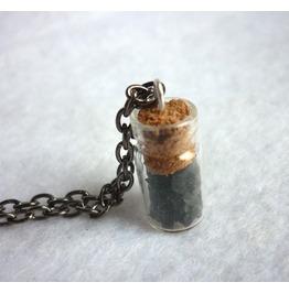 Black Crystal Vial Necklace