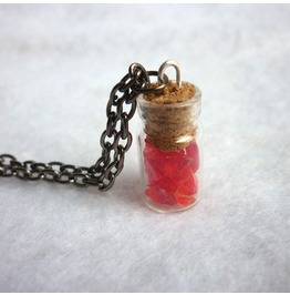 Red Crystal Vial Necklace