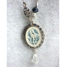 Victorian Blue White Unicorn Necklace