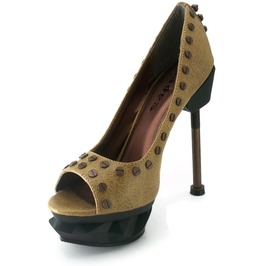 Hades Shoes Women's Iron Punk Mustard Steampunk Heels