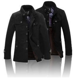 Black/Gray Men's Casual Winter Coat