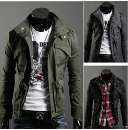 Black/Army Green/Gray Colors Men's Slim Spring Jacket