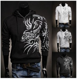 Men's 4 Colors Tattoo Printed Spring Hoodie