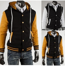 Men's Yellow/White Button Up Hoodie