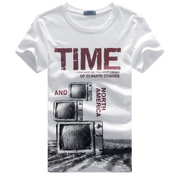 Gray/White Men's Time Letter Print Short Sleeve T Shirt