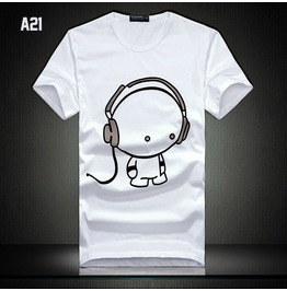Cartoon Headphones Kid Print Short Sleeve T Shirt