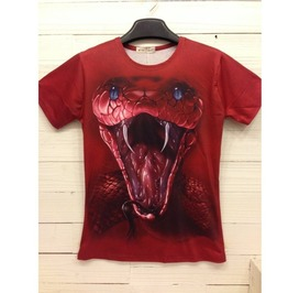 Men's 3 D Cobra Print Cotton T Shirt