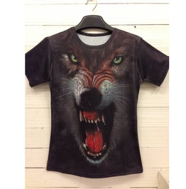 Men's 3 D Wolf Printed Cotton T Shirt