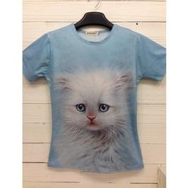Men's Cute 3 D Cat Print Cotton T Shirt