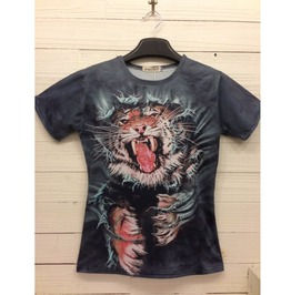 Men's 3 D Tiger Print Cotton T Shirt