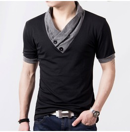 Men's Black/Gray V Neck Short Sleeve Casual T Shirt