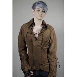 Funky Brown Bohemian Tribal Popped Collar Dress Shirt
